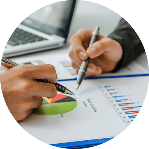 reviewing financial chart